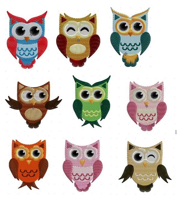 Cute Owls - Set of 9