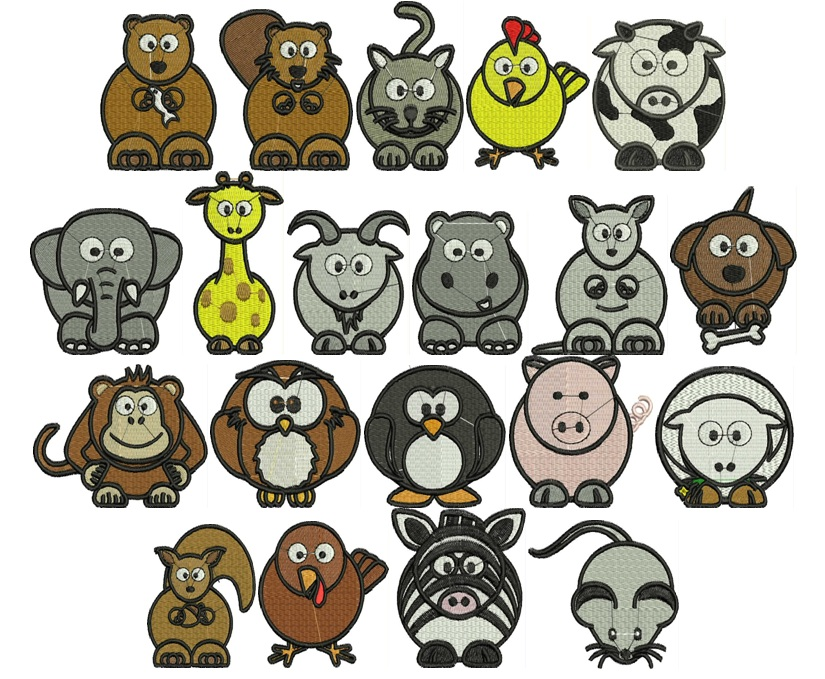 Cute Animal Designs - set of 20 - Click Image to Close