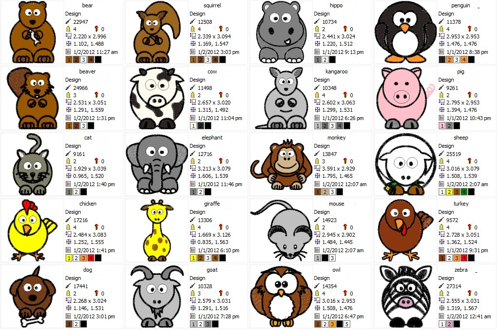 Cute Animal Designs - set of 20