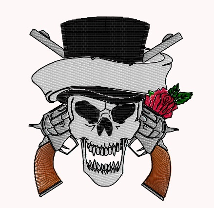 Skull with Guns and Rose